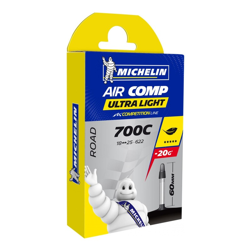 Chambre à air vélo Michelin AirComp Ultra Light 700 x 18/23C A1 Presta 60mm