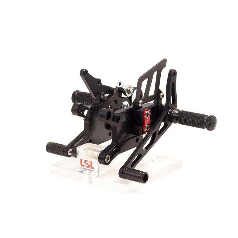 Commandes reculées LSL 2Slide Rearsets noires Yamaha YZF-R1 04-06