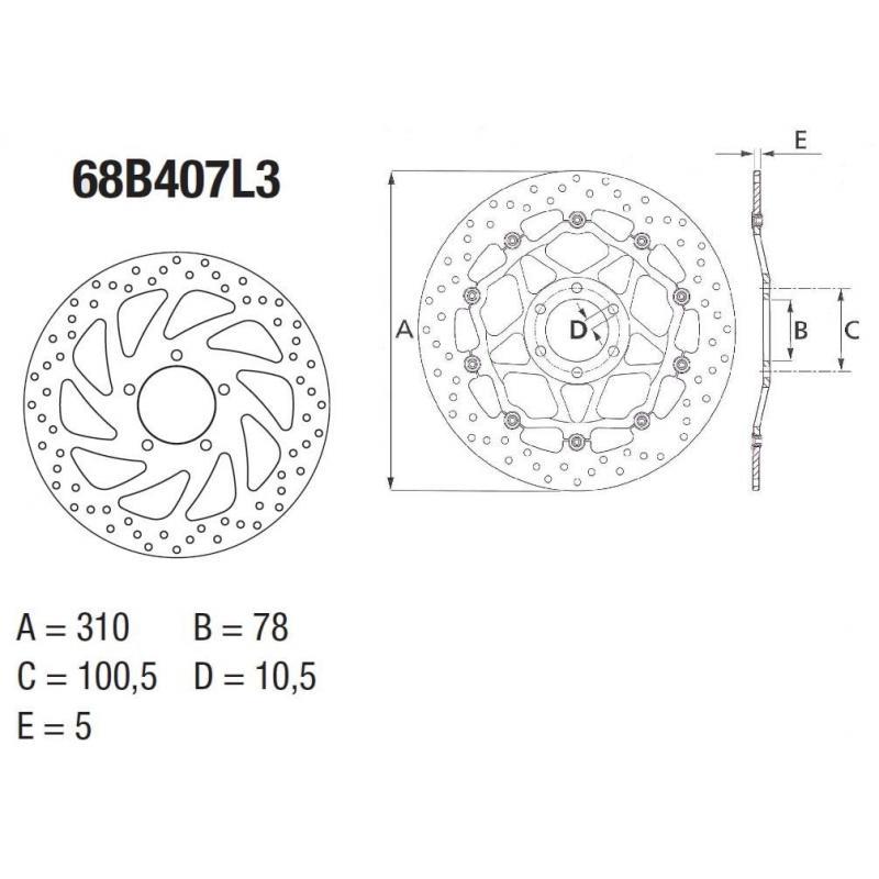 Disque de frein avant Brembo Serie ORO rond fixe 68B407L3