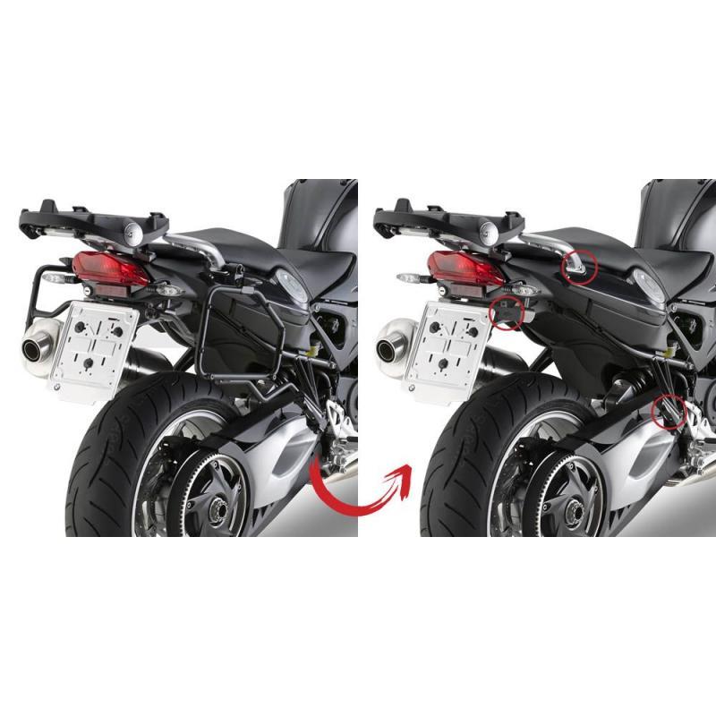Kit de montage supports valises latérales sans support de top case Givi PLR5118 BMW F 800 R 09-16