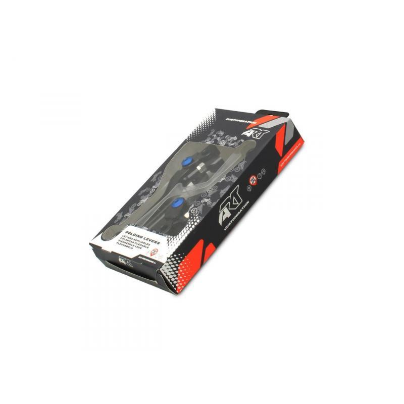Paire de leviers repliables ART Husqvarna 250 FC 14-15 noir/vis bleu - 1