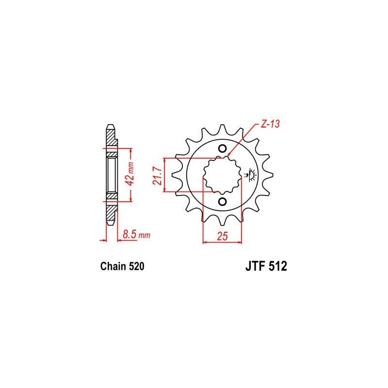 Pignon JT Sprockets Acier pas 520 14 dents - Pour Kawasaki ZR 550 Zephyr 91-98