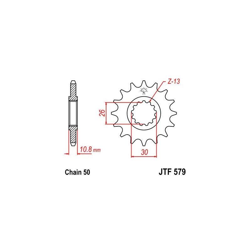 Pignon JT Sprockets Acier pas 530 17 dents - Pour Yamaha FZ1 06-15