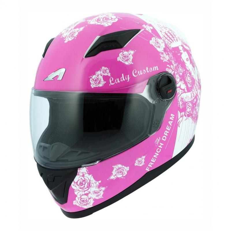 Casque intégral Astone GT2 Graphic LADY CUSTOM rose/blanc