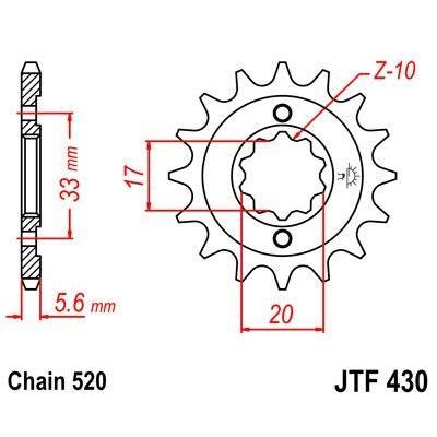 Pignon JT Sprockets Acier pas 520 13 dents - Pour Suzuki RM-Z 250 04-06