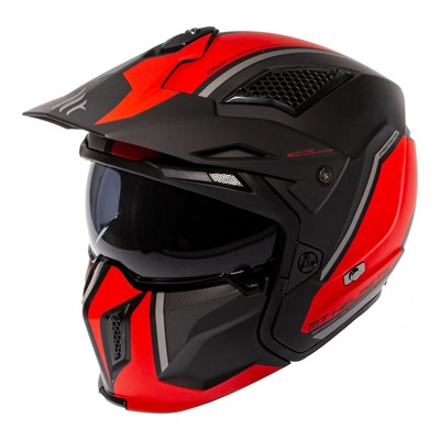 Casque transformable MT Helmets Streetfighter SV rouge-noir mat