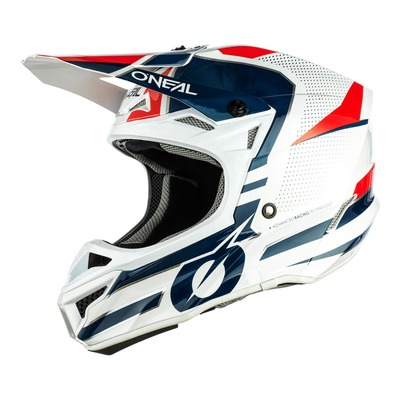 Casque cross O'Neal 5SRS Polyacrylite Sleek blanc/bleu/rouge