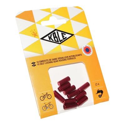 Embouts de gaine autobloquant dérailleur Transfil Ø4mm rouge (10 pièces)