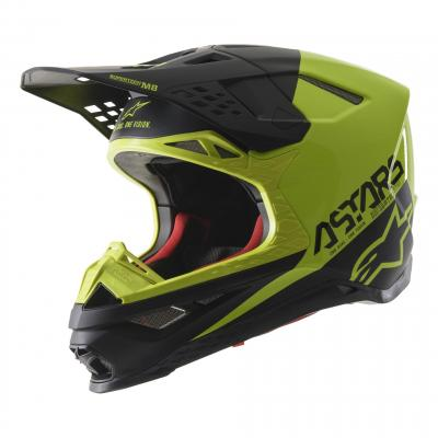 Casque cross Alpinestars Supertech S-M8 Echo noir/jaune fluo mat et brillant
