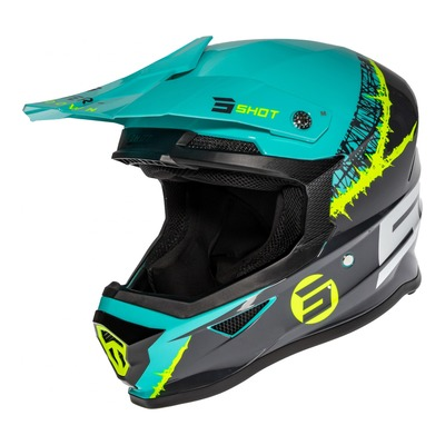 Casque cross Shot Furious Storm brillant gris/vert/jaune fluo