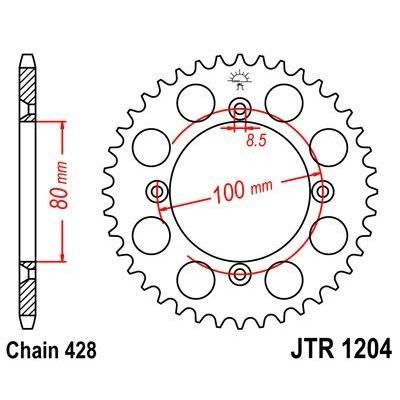 Couronne JT Sprockets Acier pas 428 50 dents - Pour Honda XR 100 R 85-03