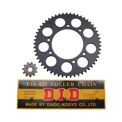 Kit chaîne DID pas 420 11x53 démultiplication d'origine alésage 102 mm adaptable senda drd r - drd s