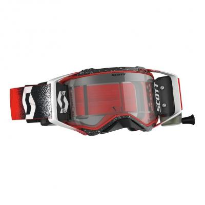 Masque cross Scott Prospect WFS Roll Off rouge/blanc – écran clair