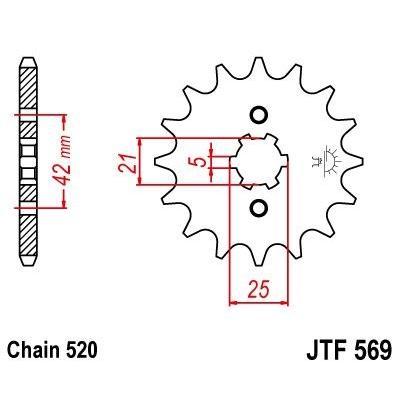 Pignon JT Sprockets Acier pas 520 12 dents - Pour Yamaha YZ 250 77-93