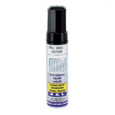 Pinceau retouche peinture Noir profond brillant acrylique RAL 9005 Motip 12 ml M907236