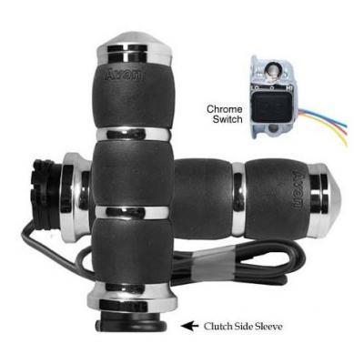 Poignées Avon velvet grips chauffantes coussin d'air tirage câble Twin Cam 99-17 chrome
