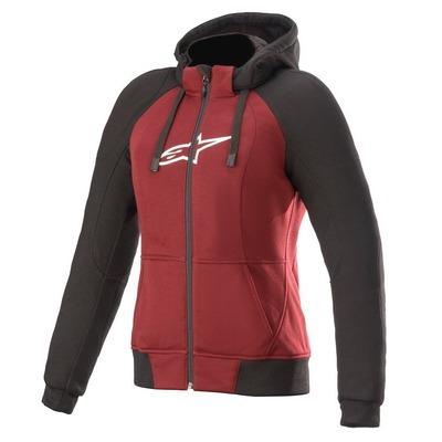 Sweat zippé femme moto Alpinestars Stella Chrome Sport jasper rouge/noir/blanc