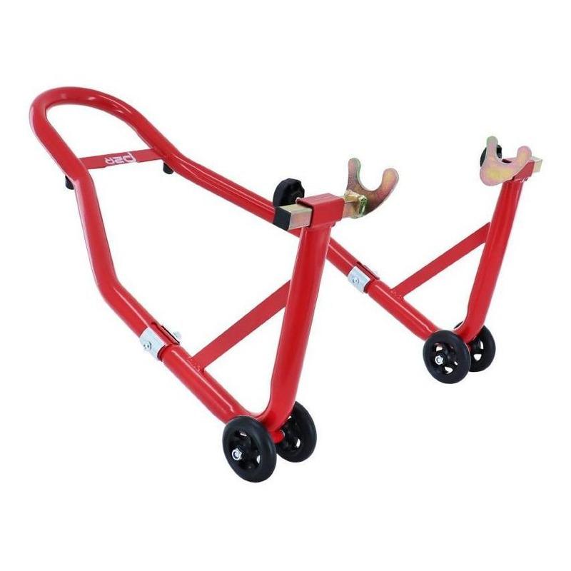 Béquille renforcée acier rouge moto avant et arrière