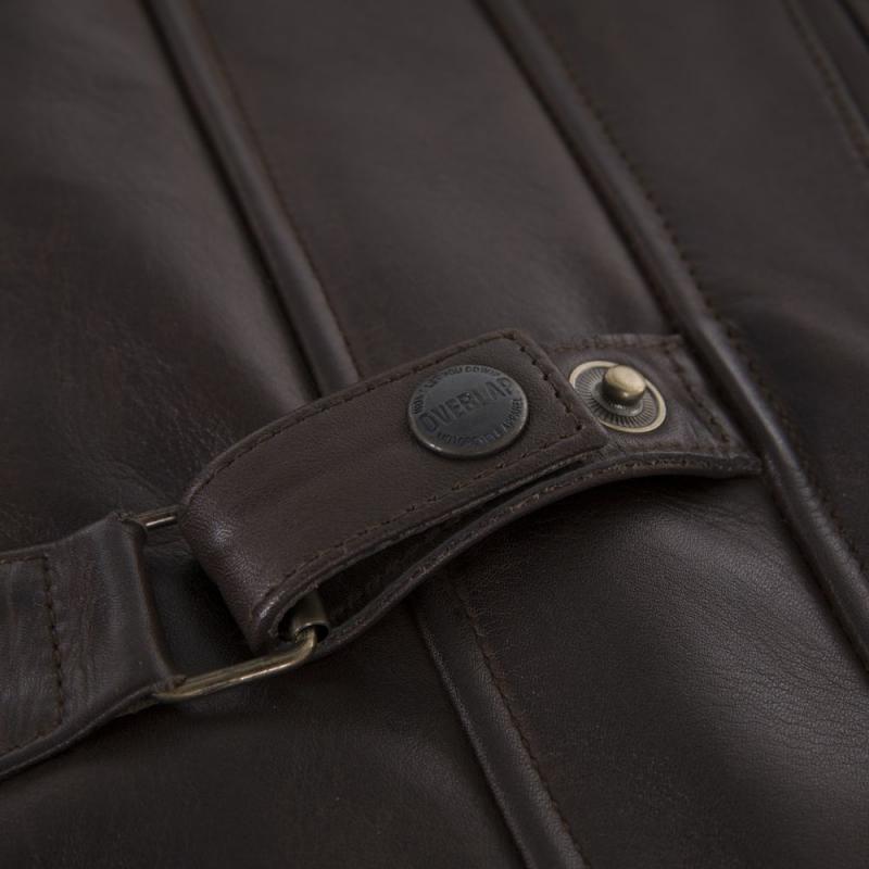 Blouson cuir Overlap RAINEY marron - 7