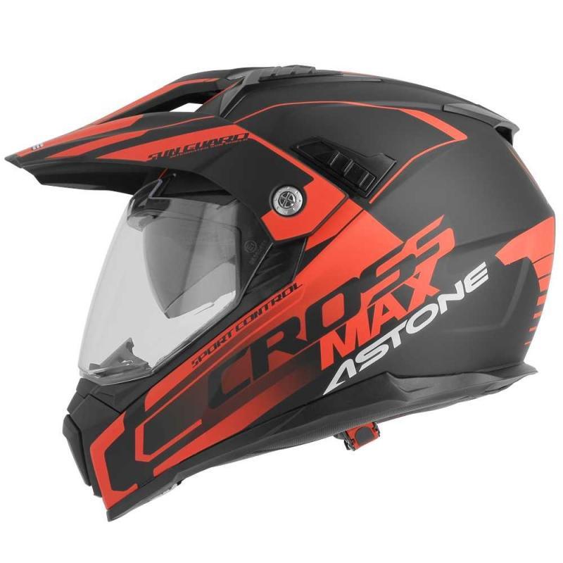 Casque intégral Trail Astone CROSSMAX ROAD noir/rouge fluo - 1