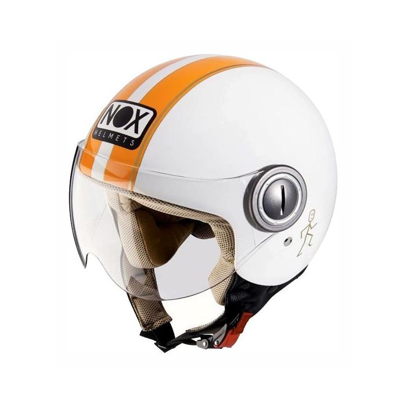 Casque jet Nox N210 blanc/orange