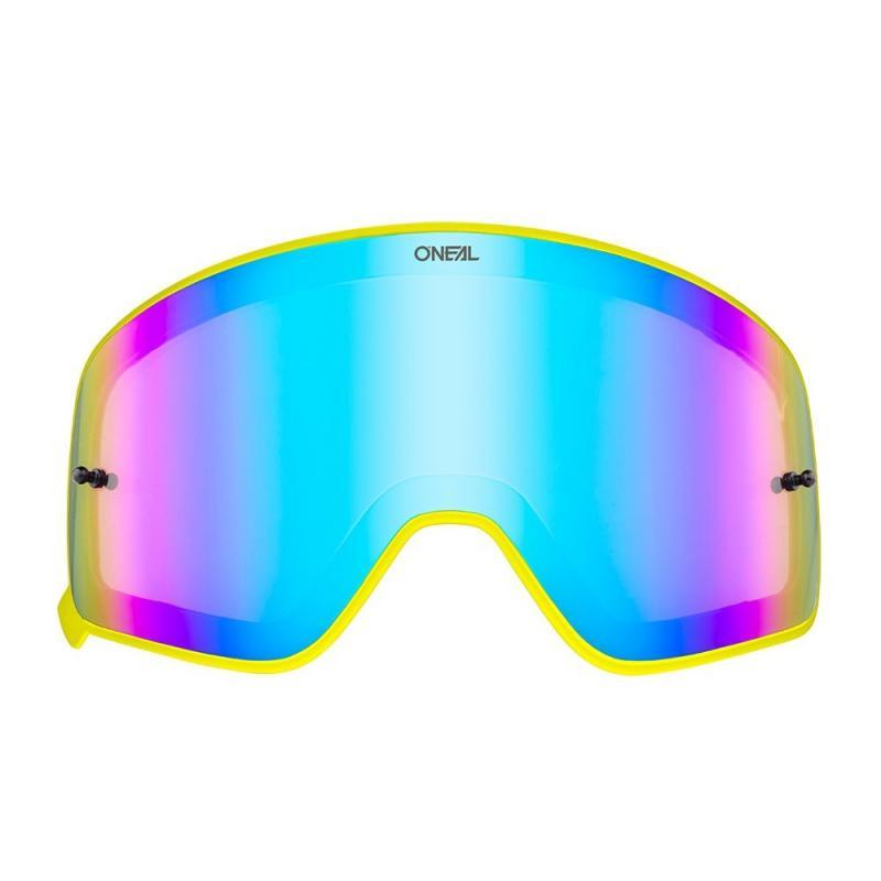 Écran O'Neal pour masque B 50 iridium bleu avec cadre jaune