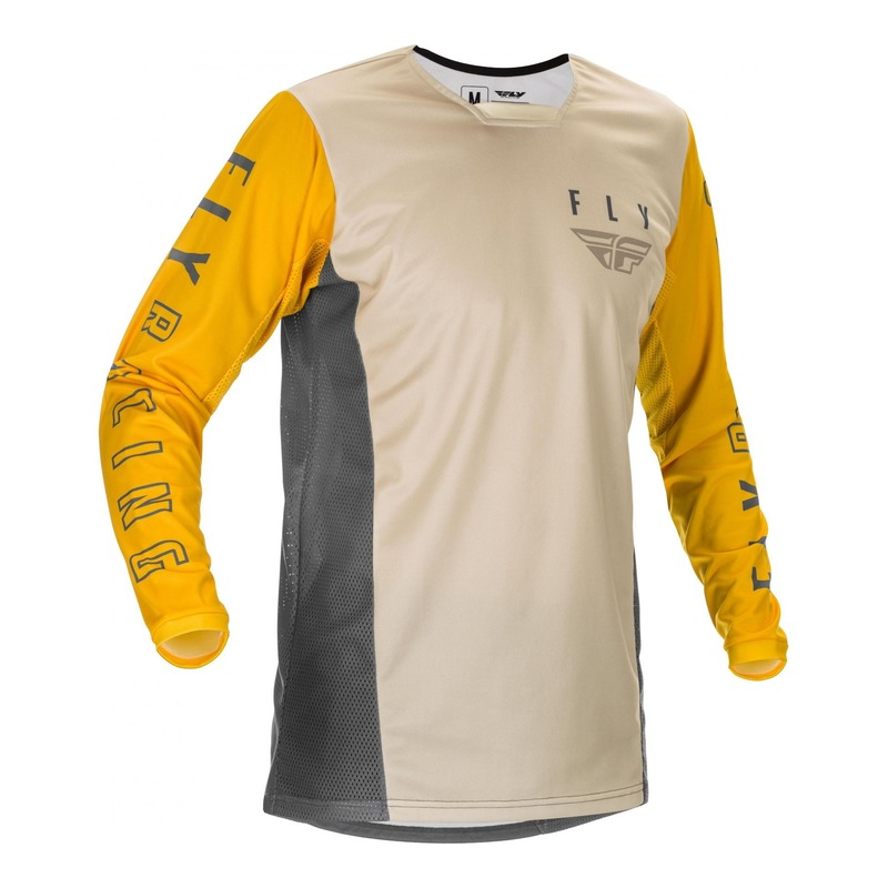 Maillot cross Fly Racing Kinetic K121 moutarde/stone/gris