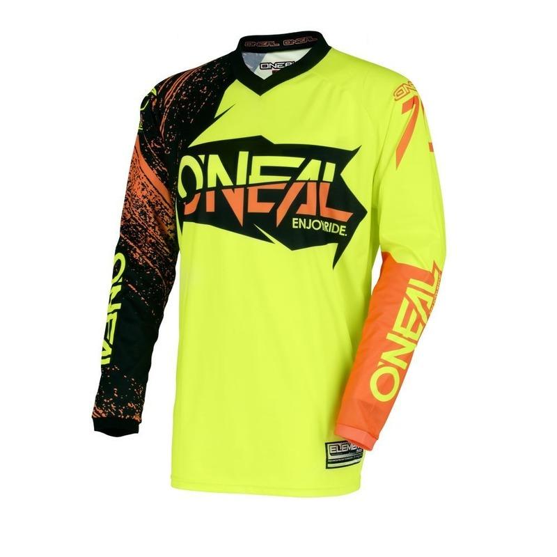 Maillot cross O'Neal Element Burnout noir/orange/jaune