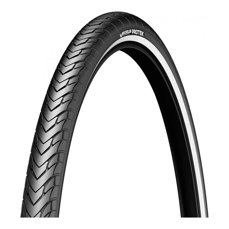 Pneu vélo City/VTC Michelin Protek TR noir/flanc réfléchissant (700x38C)