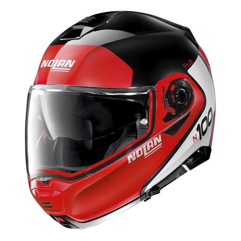 Casque modulable Nolan N100-5 Plus Distinctive N-Com Brillant noir/rouge
