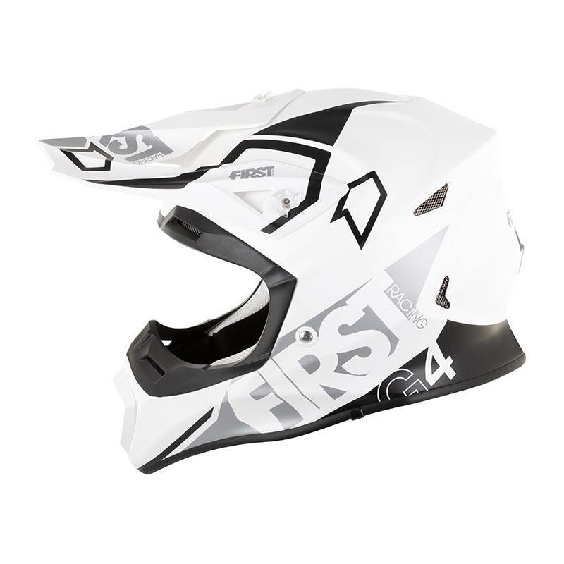 Casque cross First Racing G4 Fibre blanc/argent/noir