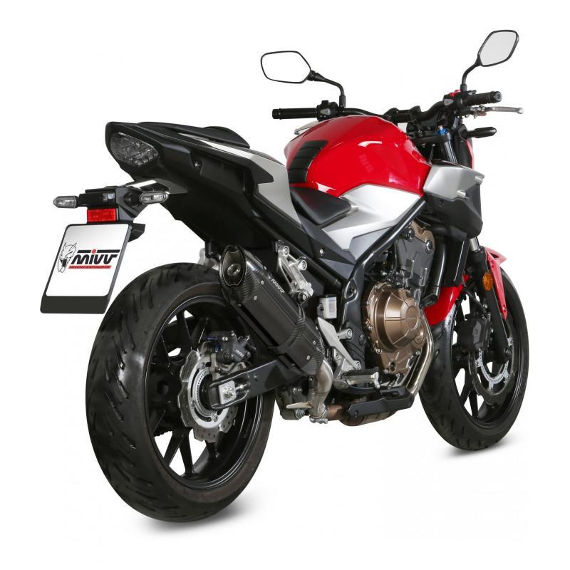 Silencieux Mivv Suono inox noir casquette carbone Honda CB 500 F 19-20