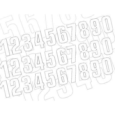 3 numéros de course Blackbird N° 8 blancs 13 x 7 cm