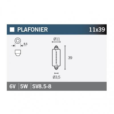 Ampoule Vicma 11x39 SV8,5-8 6V 5W