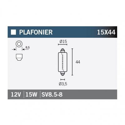 Ampoule Vicma 15x44 SV8,5-8 12V 15W
