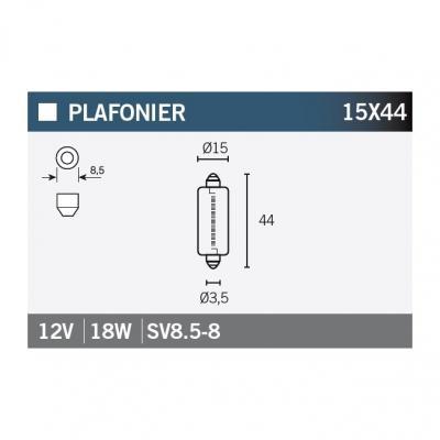 Ampoule Vicma 15x44 SV8,5-8 12V 18W