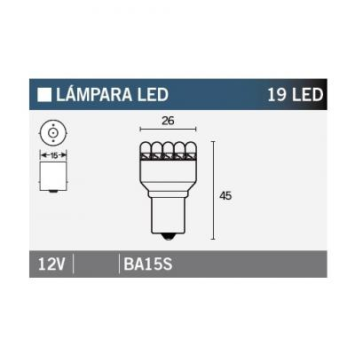 Ampoule Vicma BA15S 19 LEDs 12V Blanche
