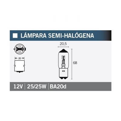 Ampoule Vicma BA20D Semi-halogène 12V 25/25W