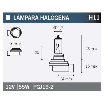 Ampoule Vicma H11 PGJ19-2 Halogène 12V 65W