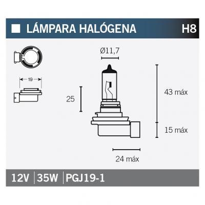 Ampoule Vicma H8 PGJ19-1 Halogène 12V 35W