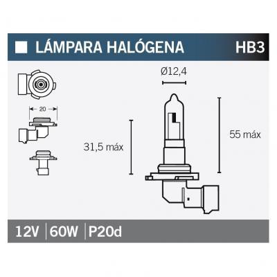 Ampoule Vicma HB3 P20D Halogène 12V 60W