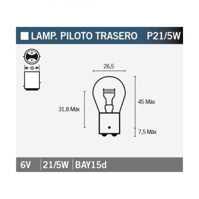 Ampoule Vicma P21/5W Bay15d feux arrière 6V 21/5W