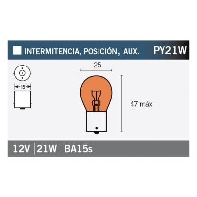 Ampoule Vicma PY21W BAU15s 12V 21W Orange