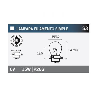 Ampoule Vicma S3 P26S simple filament 6V 15W