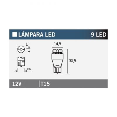 Ampoule Vicma T15 9 LEDs 12V Blanches