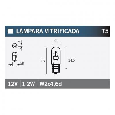 Ampoule Vicma T5 W2x4,6d 12V 1,2W