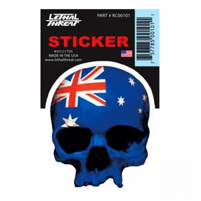 Autocollant Lethal Threat Australian skull 7x11cm
