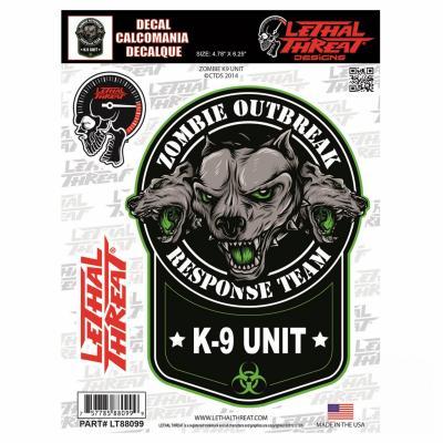 Autocollant Lethal Threat Zombie K9 unit 15x20cm
