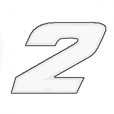 Autocollant numéro 2 blanc 9 cm