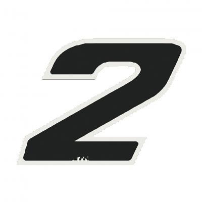 Autocollant numéro 2 noir 9 cm